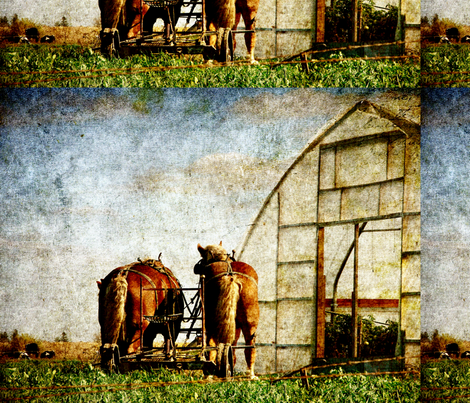 two horses ready for work fabric by angelandspot on Spoonflower - custom fabric