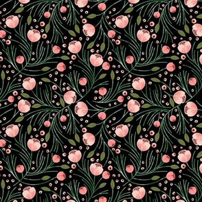winter floral // pine on black // extra small