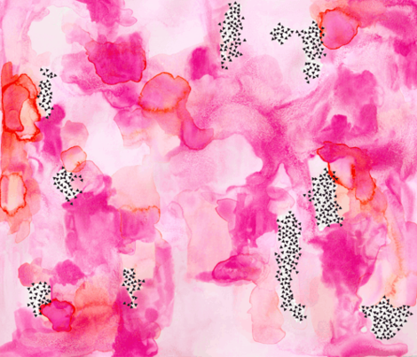 hand-painted watercolor abstract // pink + coral fabric by ivieclothco on Spoonflower - custom fabric