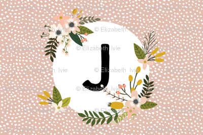 Blush Sprigs and Blooms Monogram Lovey // J