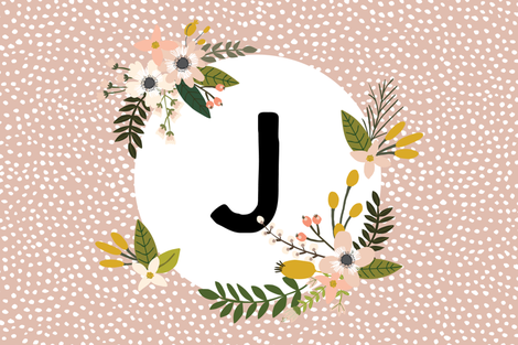 Blush Sprigs and Blooms Monogram Lovey // J fabric by ivieclothco on Spoonflower - custom fabric