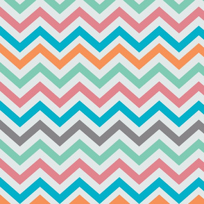Gray Orange Green Pink Blue Dark Gray Chevrons