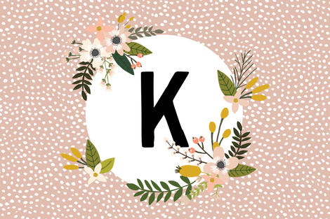 Blush Sprigs and Blooms Monogram Lovey // K fabric by ivieclothco on Spoonflower - custom fabric