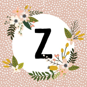 Blush Sprigs and Blooms Monogram Lovey // Z
