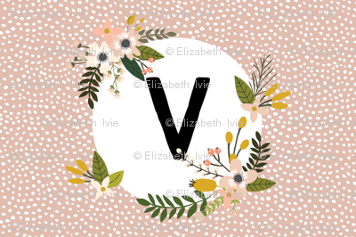Blush Sprigs and Blooms Monogram Lovey // V