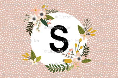 Blush Sprigs and Blooms Monogram Lovey // S