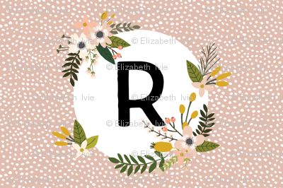 Blush Sprigs and Blooms Monogram Lovey // R