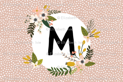 Blush Sprigs and Blooms Monogram Lovey // M