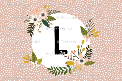 Blush Sprigs and Blooms Monogram Lovey // L