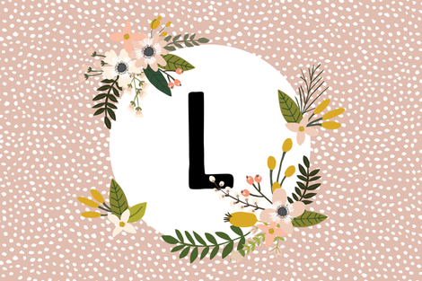 Blush Sprigs and Blooms Monogram Lovey // L fabric by ivieclothco on Spoonflower - custom fabric