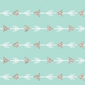 aqua climbing arrows + silver sparkle // small // horizontal