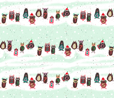 Christmas monsters fabric by sanneteloo on Spoonflower - custom fabric