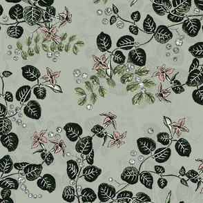 Vintage Blossoms Sage Larger Scale