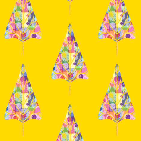 Bubbly Gumdrop Tree on Bright Yellow fabric by anniedeb on Spoonflower - custom fabric