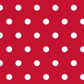 Cranberry and white polka dots