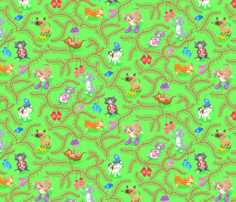 Kittens with Mittens Red Green fabric by vinpauld on Spoonflower - custom fabric