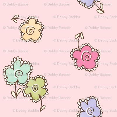 frilly flowers - mocha
