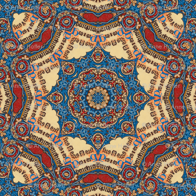 Illuminated Manuscript-blue and red doilies