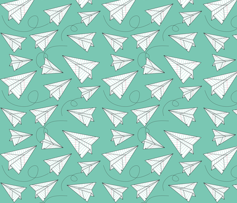 Paper Planes - Teal fabric by nancysaurusrex on Spoonflower - custom fabric