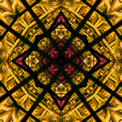 Yellow Stained Glass Abstract Diamonds with Red Accents
