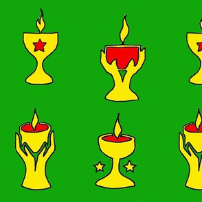 4 chalices on green