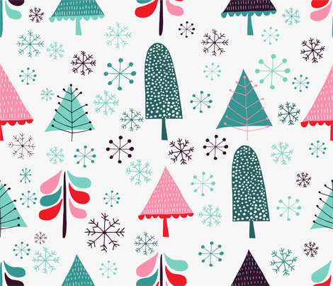 snow and tree White background fabric by sarabrezzi_design on Spoonflower - custom fabric