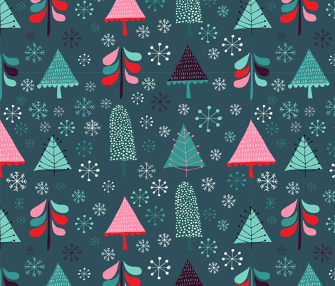 snow and tree fabric by sarabrezzi_design on Spoonflower - custom fabric