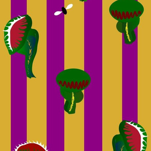 Venus flytraps on purple and gold stripes