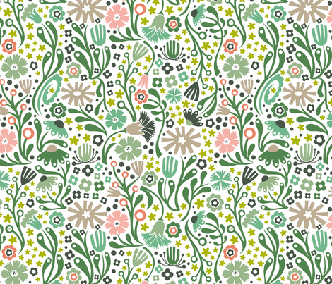Nordic Suzani Floral (Spring) fabric by christinewitte on Spoonflower - custom fabric