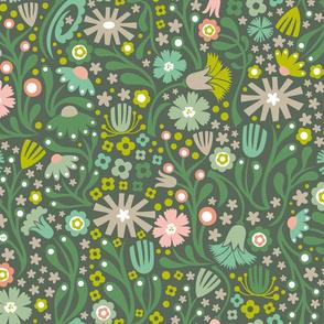 Nordic Suzani Floral (Spring-Dark)