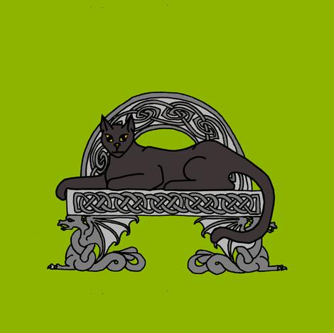 cat on a stone bench black fabric by ingridthecrafty on Spoonflower - custom fabric