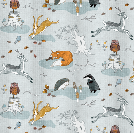 Hogs under hedges + foxes on copses (SMALL) fabric by nouveau_bohemian on Spoonflower - custom fabric
