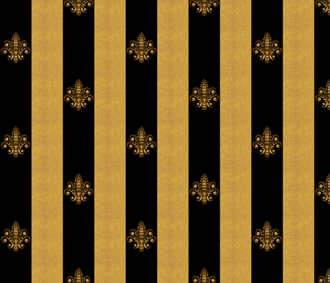 gold and black fleur de lis 2 inch wide dblspc offset fabric by glimmericks on Spoonflower - custom fabric