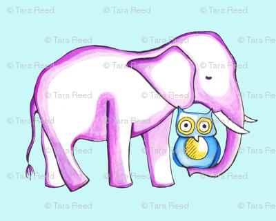 Baby Elephant holding Owl