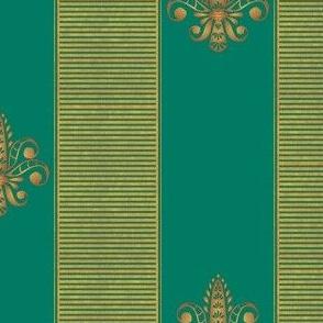 gold and green fleur de lis 2 inch stripe