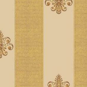 gold and champagne fleur de lis 2 inch stripe