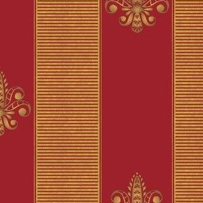 gold and red fleur de lis 2 inch stripe