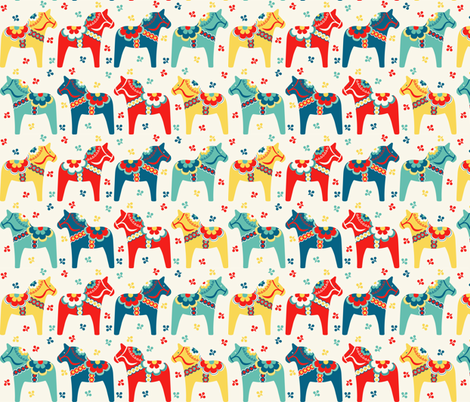 Swedish Dala Horses fabric by runningriverdesign on Spoonflower - custom fabric