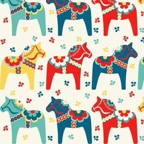 Dala horse fabric wallpaper gift wrap spoonflower for Swedish design shop