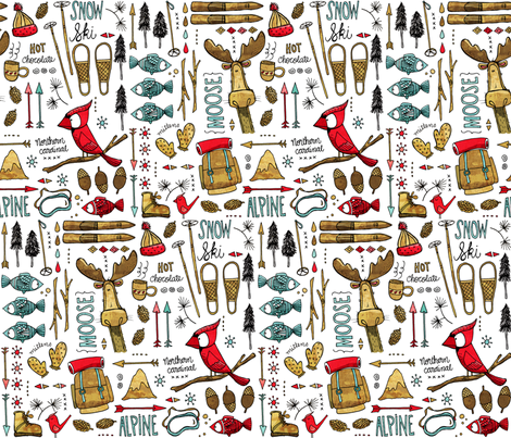 Winter Adventure, white fabric by mulberry_tree on Spoonflower - custom fabric