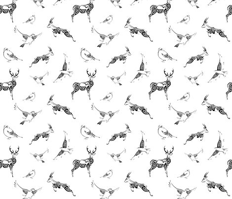 Swirl Animals - Black fabric by talexander on Spoonflower - custom fabric