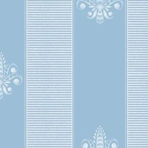 french blue and white fleur de lis 2 inch stripe