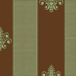 chocolate pistachio fleur de lis 2 inch stripe