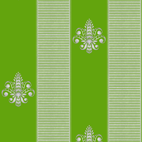 silver grass fleur de lis 2 inch stripe fabric by glimmericks on Spoonflower - custom fabric