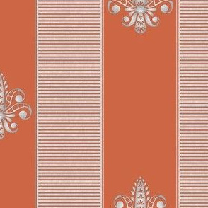 silver tangerine fleur de lis 2 inch stripe