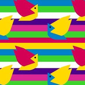 Birdies on Bubbly Gumdrops Stripes (horizontal)