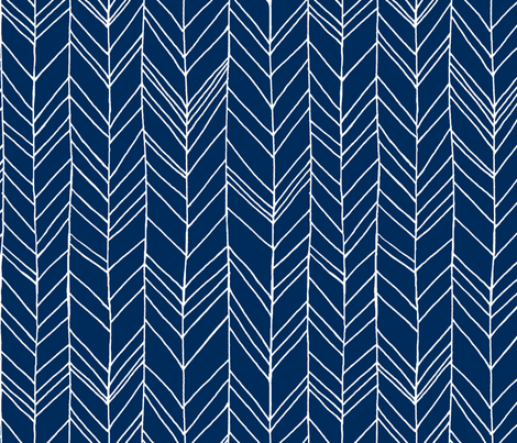 featherland navy/white LARGE fabric by leanne on Spoonflower - custom fabric