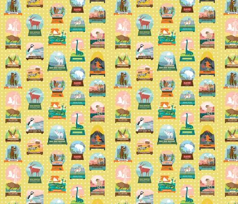 National Parks Snow Domes in Yellow fabric by pinkowlet on Spoonflower - custom fabric
