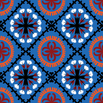 suzani in blue fabric by daria_rosen on Spoonflower - custom fabric