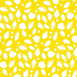 leaves silhouettes in yellow